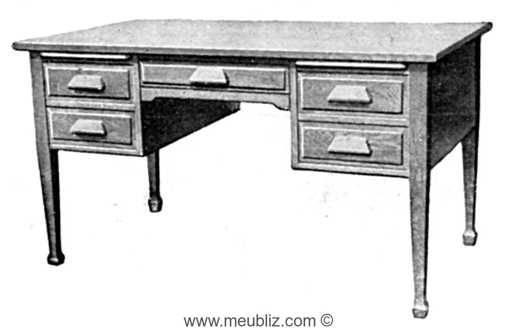 Bureau à caisse en bois massif et pieds épée en gaine meuble