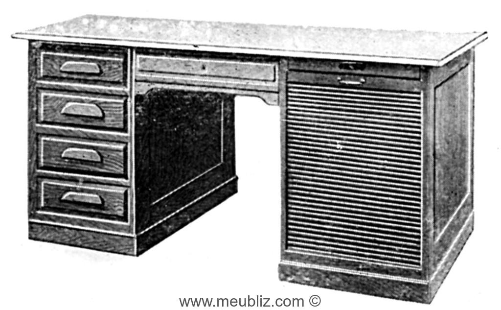Bureau ministre pour machine à écrire à caisson à rideau et