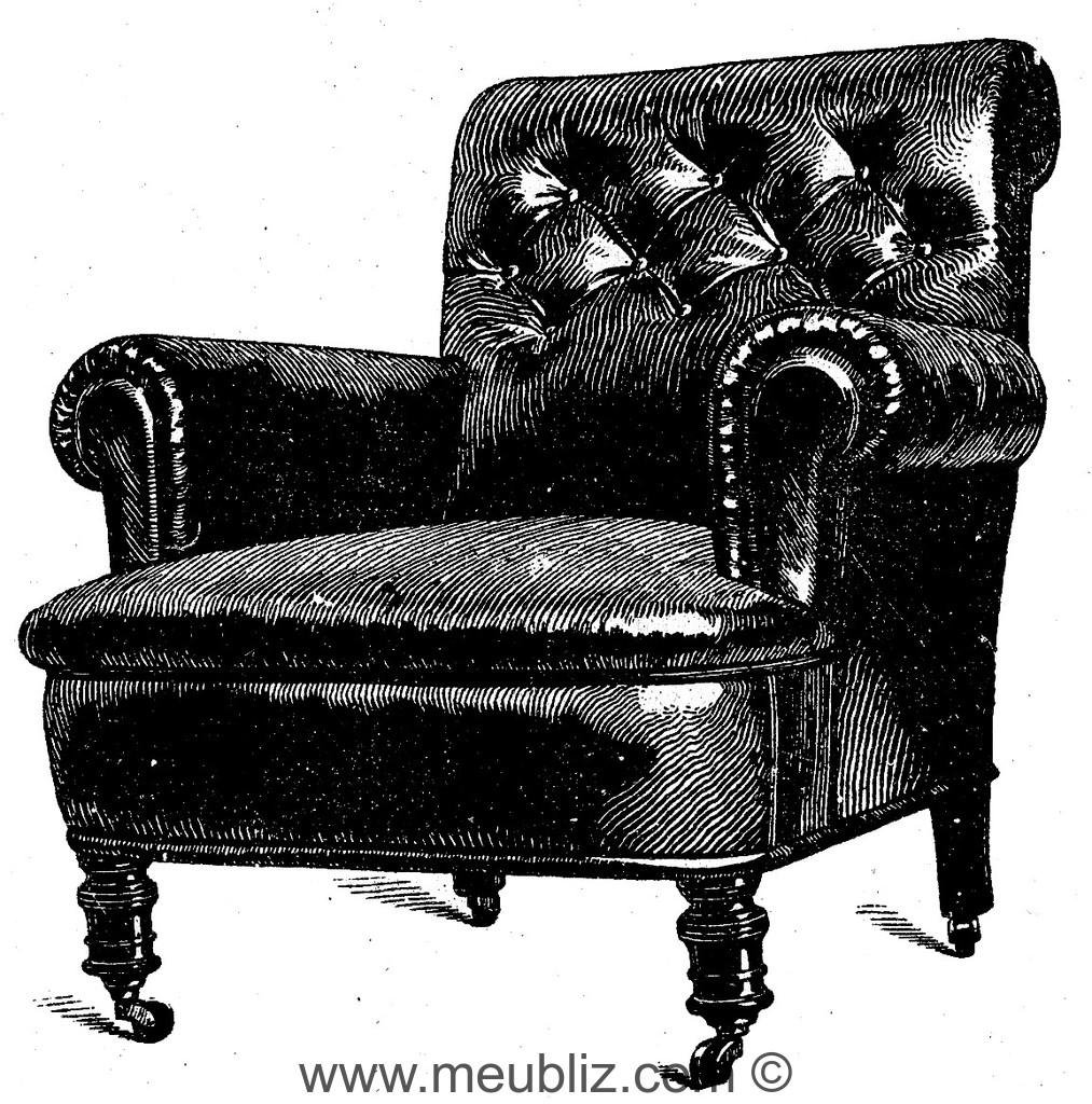 fauteuil chesterfield dossier haut meuble de style. Black Bedroom Furniture Sets. Home Design Ideas