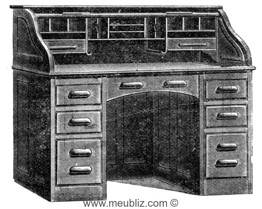 Bureau américain à rideau meuble classique