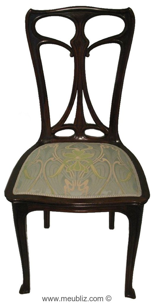 chaise art nouveau dossier ajour meuble de style. Black Bedroom Furniture Sets. Home Design Ideas