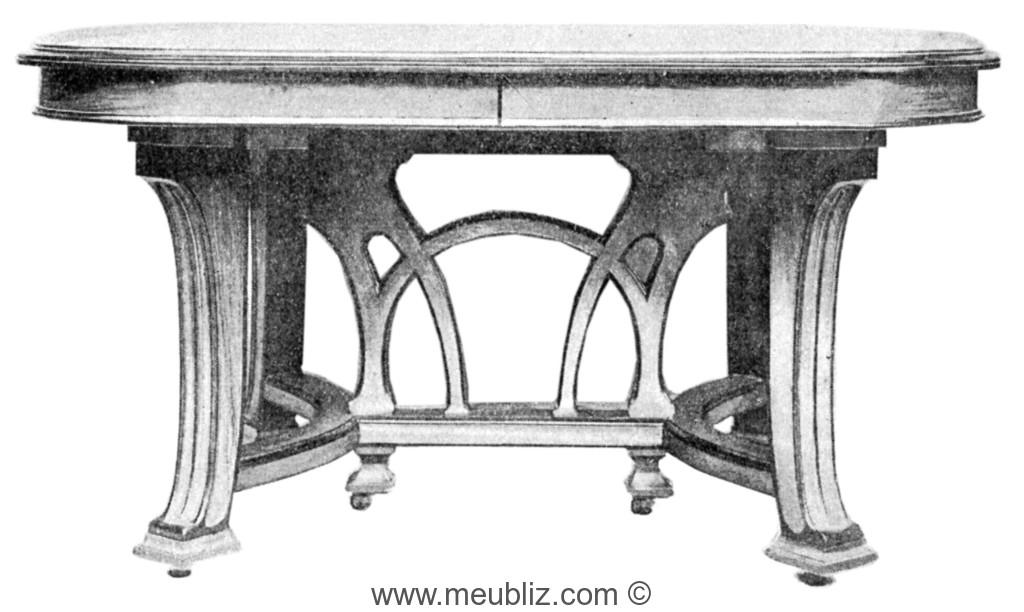 grande table de salle manger art nouveau meuble de style. Black Bedroom Furniture Sets. Home Design Ideas