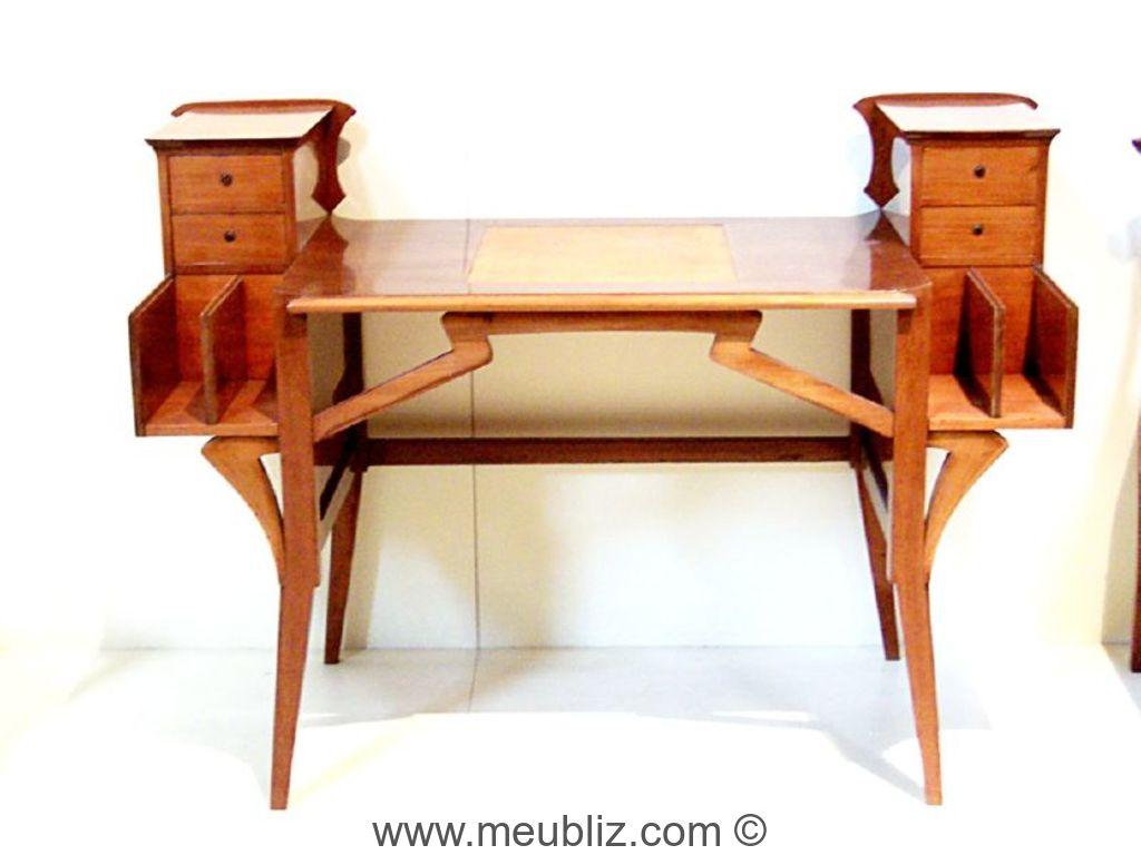 Bureau Art Nouveau à rangements latéraux - Meuble de style