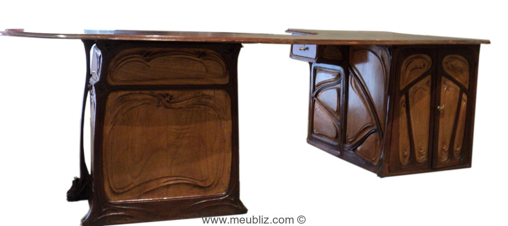 bureau art nouveau caisson meuble de style. Black Bedroom Furniture Sets. Home Design Ideas