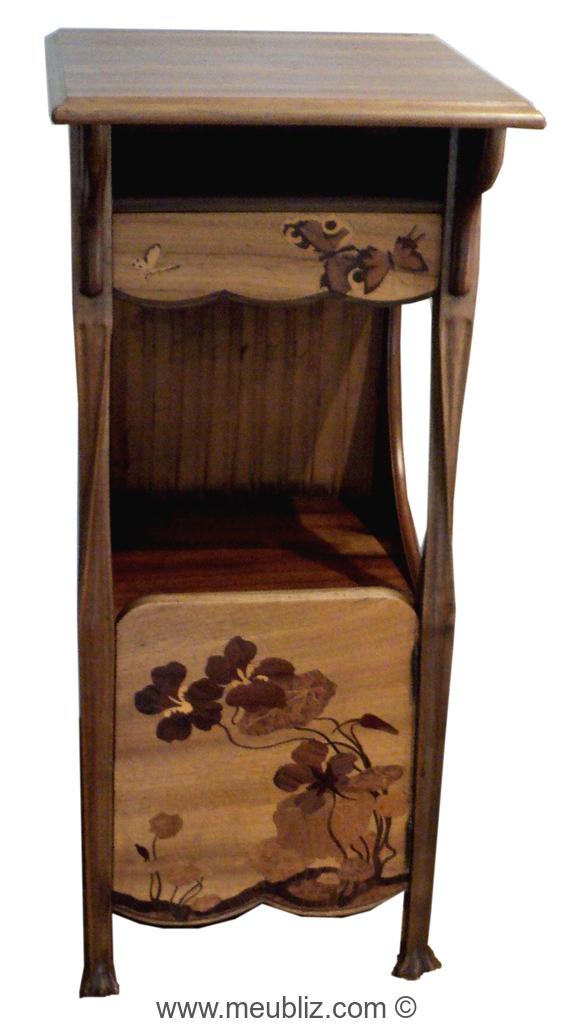 Table de nuit art nouveau vantail meuble de style - Meuble art nouveau ...