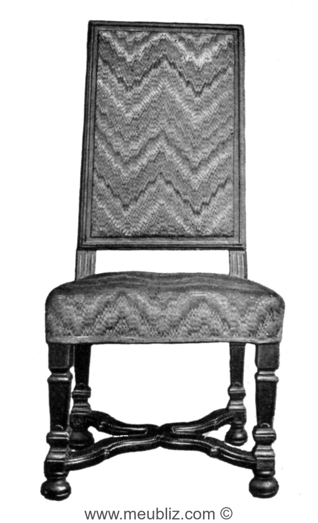 chaise louis xiv haut dossier pieds en balustre carr et croisillon d 39 entrejambe. Black Bedroom Furniture Sets. Home Design Ideas