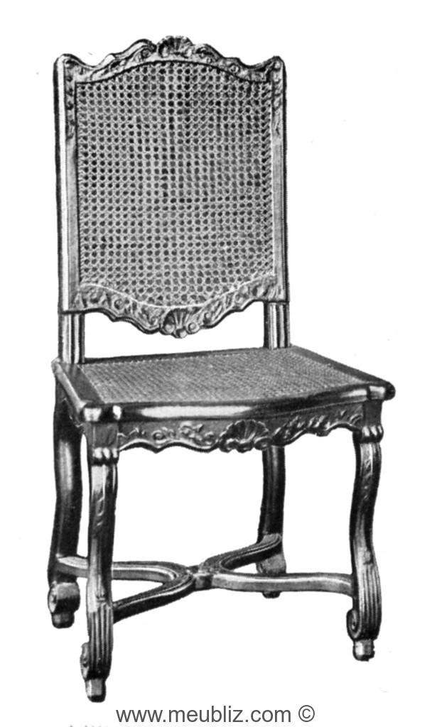 chaise cann e r gence pieds en console rentr e et croisillon meuble de style. Black Bedroom Furniture Sets. Home Design Ideas