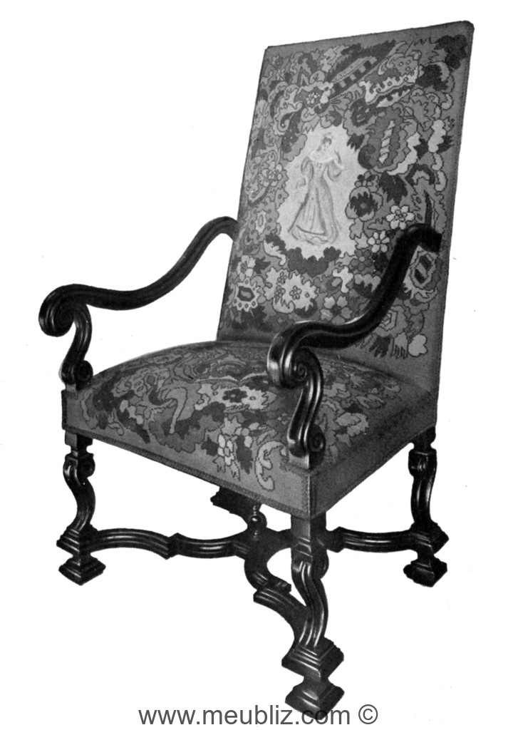 fauteuil louis xiv accoudoirs incurv s pieds en console et croisillon d 39 entrejambe meuble. Black Bedroom Furniture Sets. Home Design Ideas