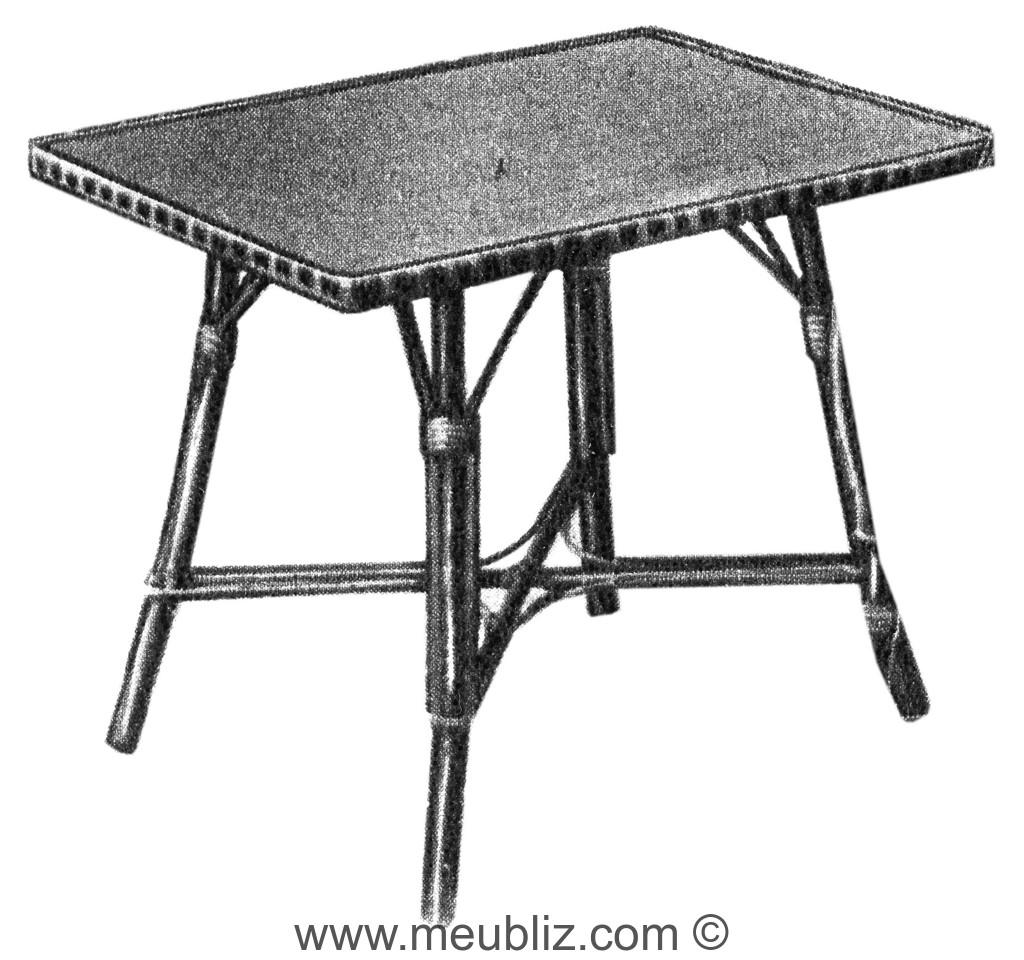 Table de jardin rectangulaire en rotin
