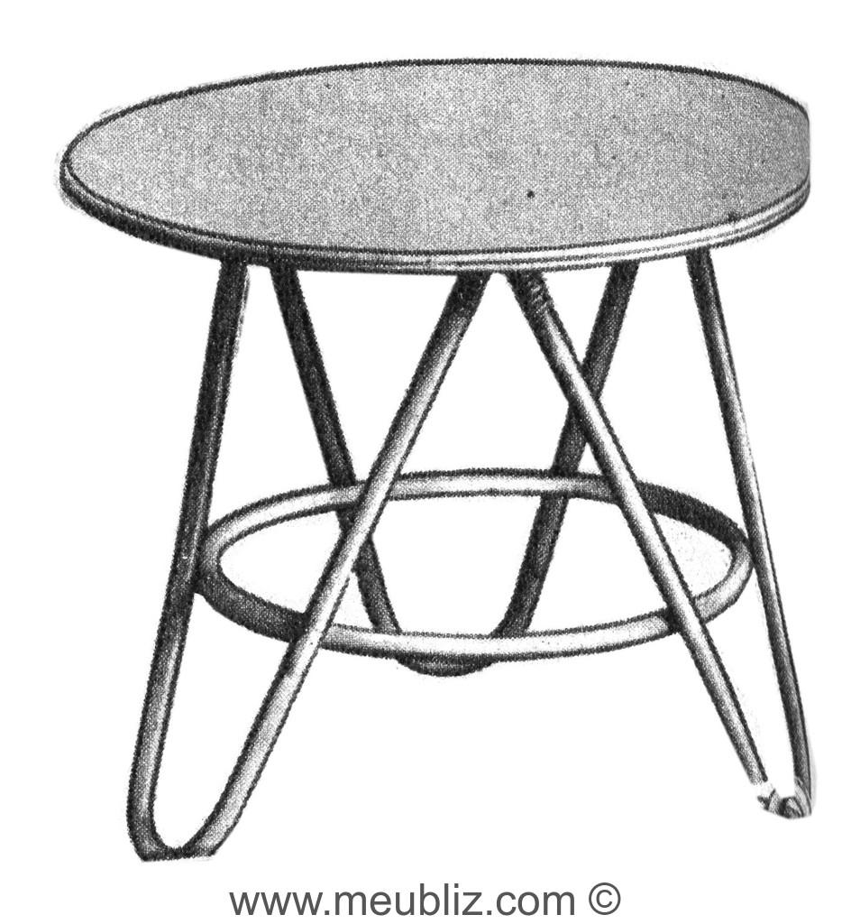 Table Basse Ronde En Rotin à Pieds En épingle