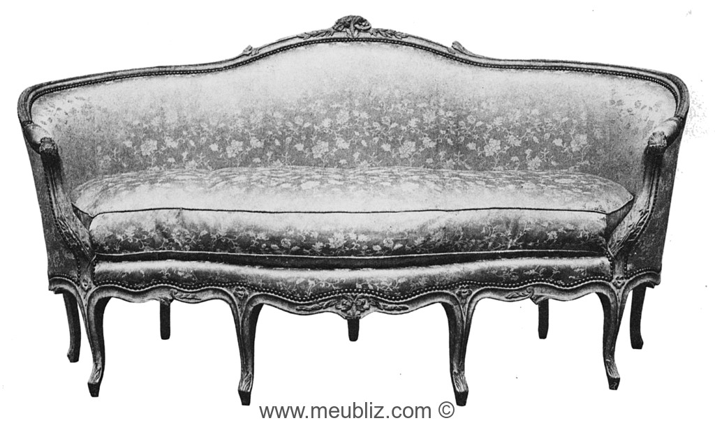 ottomane louis xv quatre pieds en fa ade meuble de style. Black Bedroom Furniture Sets. Home Design Ideas