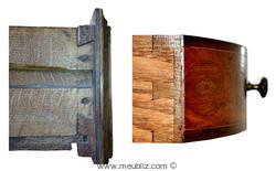 Assemblage de meuble ancien à queue d'aronde XVIIIe et XXe siècles