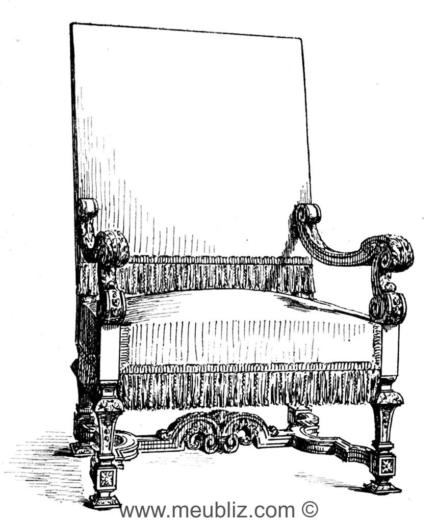 fauteuil louis xiv accoudoirs incurv s et pieds en gaine entrejambe en h meuble de style. Black Bedroom Furniture Sets. Home Design Ideas