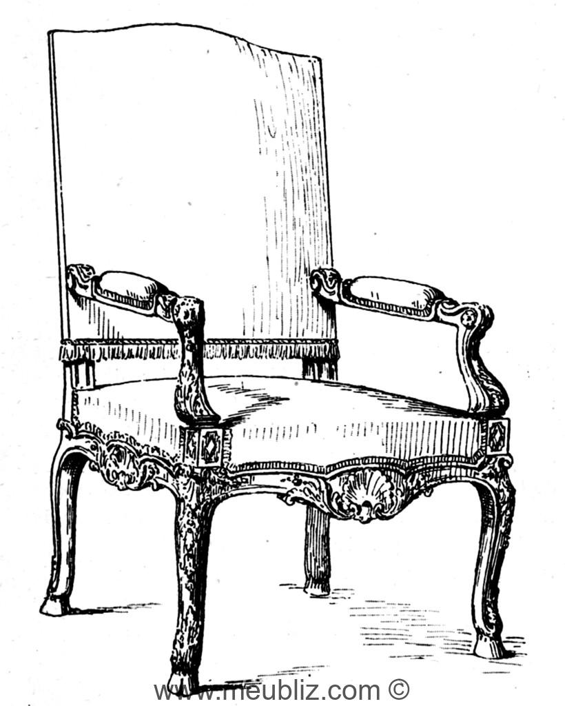 fauteuil r gence dossier en anse de panier et pieds de biche sabot meuble de style. Black Bedroom Furniture Sets. Home Design Ideas