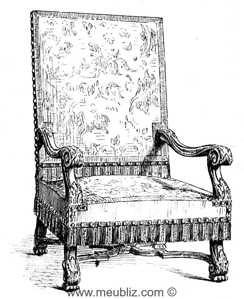 fauteuil louis xiv accoudoirs incurv s pieds en console et entrejambe meuble de style. Black Bedroom Furniture Sets. Home Design Ideas