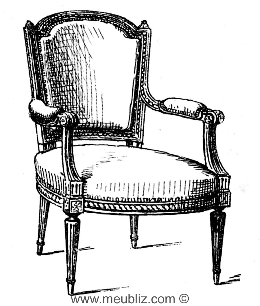 fauteuil cabriolet louis xvi anse de panier et accotoir en console invers e meuble de style. Black Bedroom Furniture Sets. Home Design Ideas
