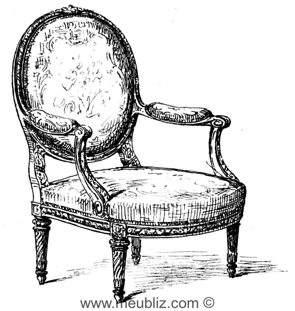 fauteuil la reine louis xvi m daillon et assise ronde meuble de style. Black Bedroom Furniture Sets. Home Design Ideas