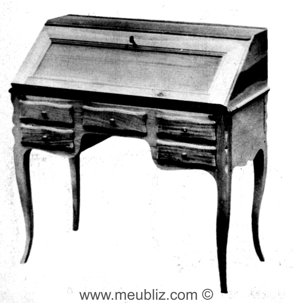 bureau dos d 39 ne louis xv tiroirs en ceinture meuble de style. Black Bedroom Furniture Sets. Home Design Ideas