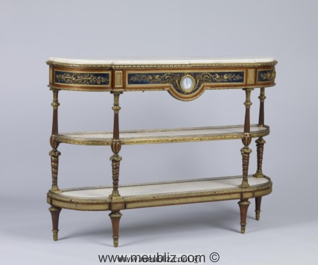 console desserte louis xvi arrondie double plateaux d 39 entrejambe meuble de style. Black Bedroom Furniture Sets. Home Design Ideas