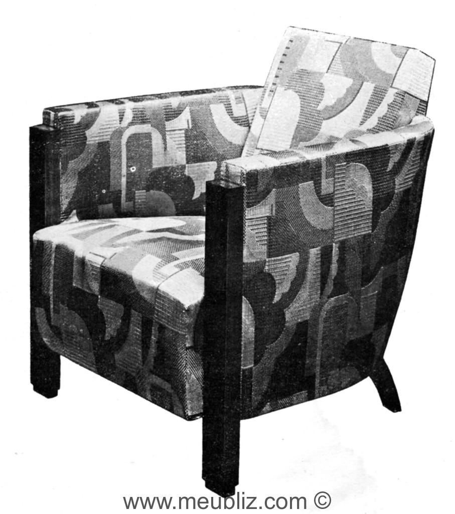 fauteuil club art d co dossier et bras angulaires meuble de style. Black Bedroom Furniture Sets. Home Design Ideas