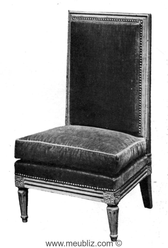 chauffeuse louis xvi haut dossier rectangulaire meuble de style. Black Bedroom Furniture Sets. Home Design Ideas