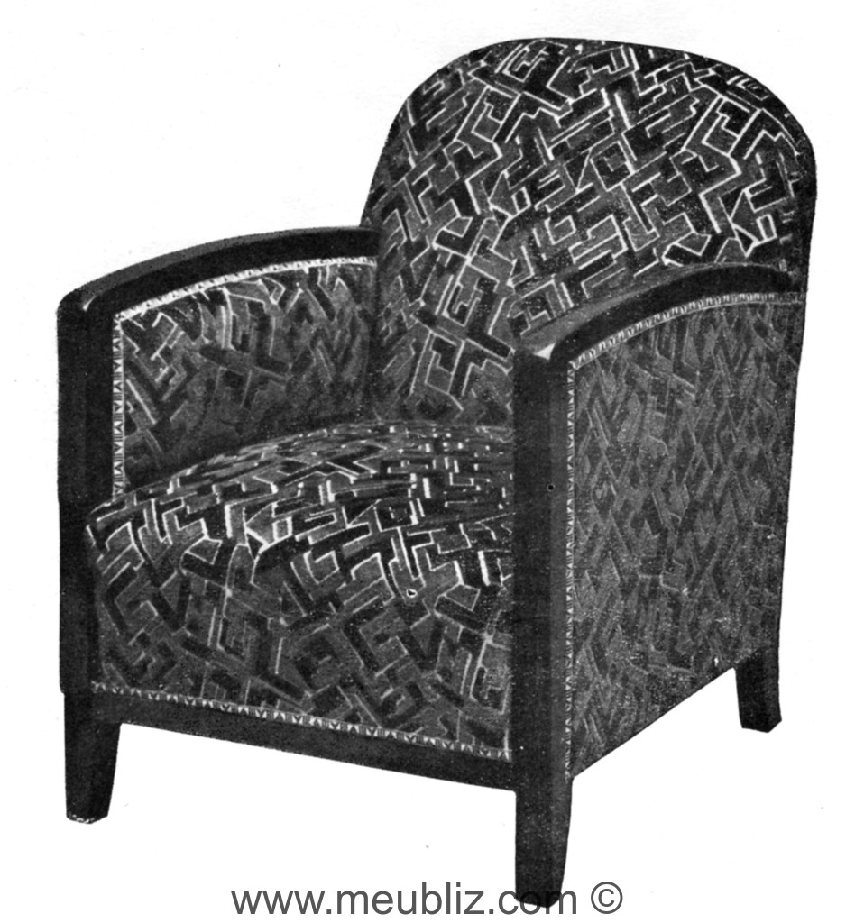 fauteuil club art d co dossier et bras en courbes meuble de style. Black Bedroom Furniture Sets. Home Design Ideas