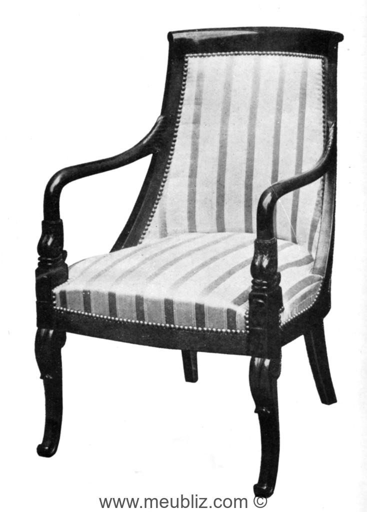 fauteuil gondole restauration louis philippe bras en trompe et pieds en sabre meuble de style. Black Bedroom Furniture Sets. Home Design Ideas