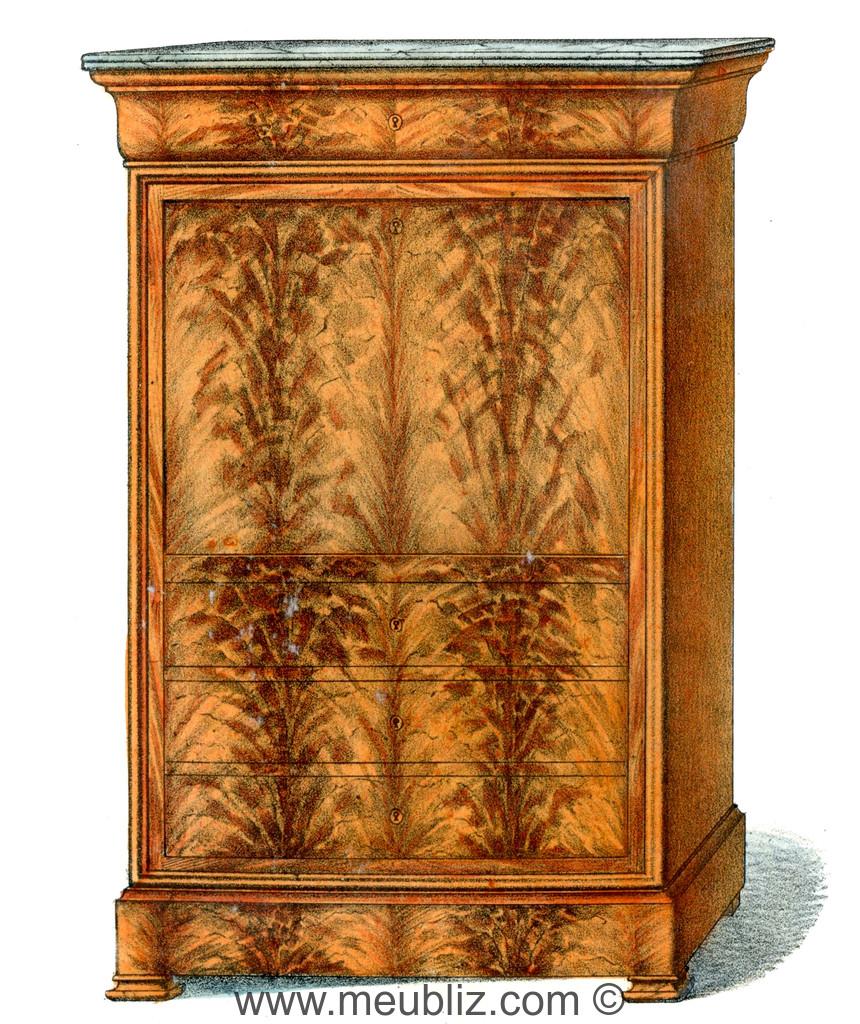 secr taire haut louis philippe abattant et tiroirs en partie basse meuble de style. Black Bedroom Furniture Sets. Home Design Ideas