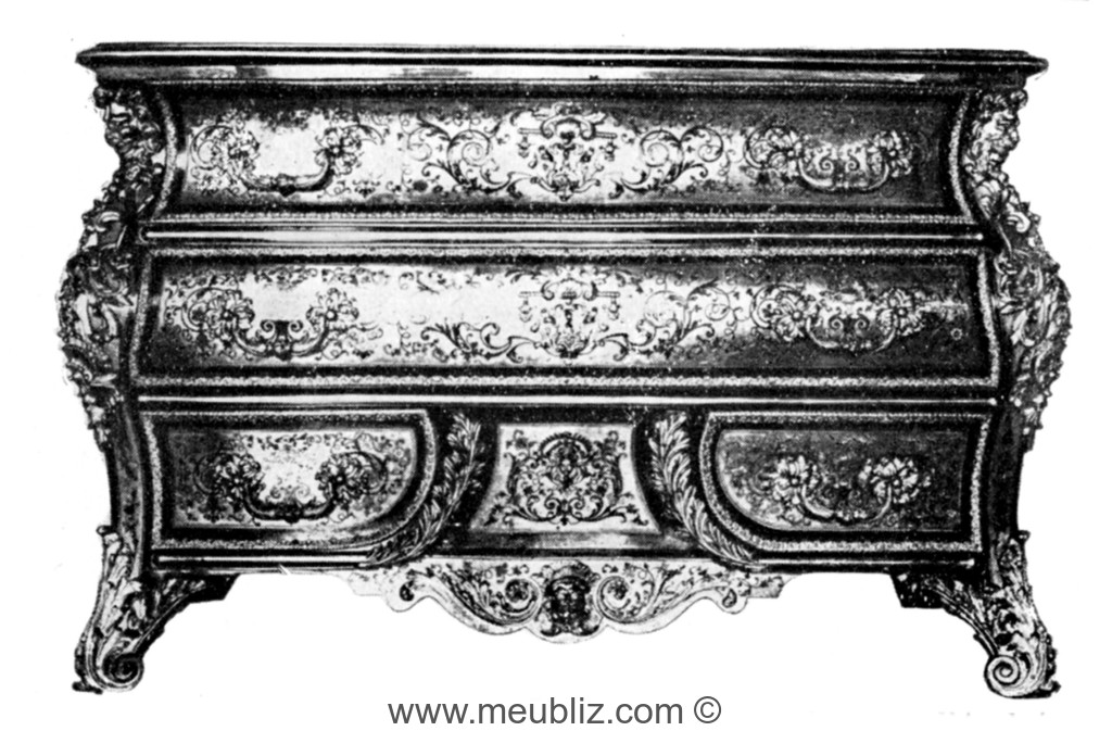 commode en tombeau louis xiv meuble de style. Black Bedroom Furniture Sets. Home Design Ideas