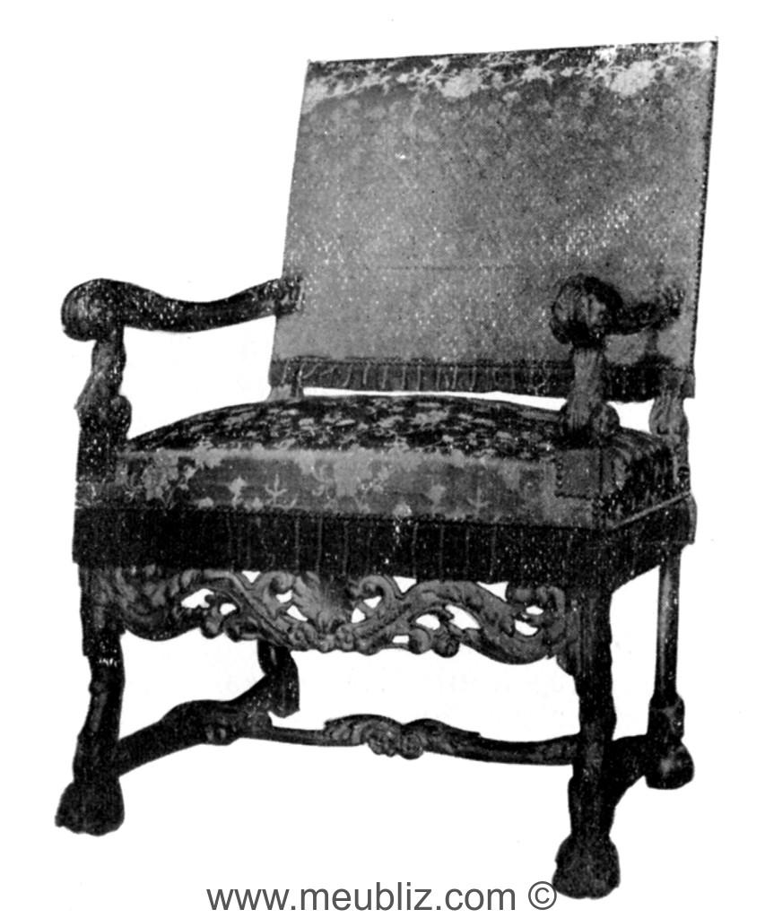 Fauteuil Louis XIV à Accoudoirs Incurvés Pieds En Console Et - Fauteuil louis xiv
