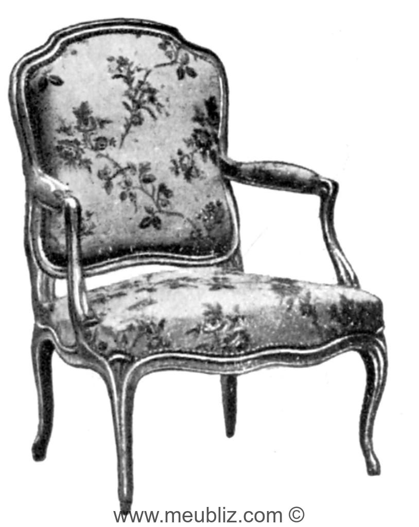 Fauteuil la reine louis xv sommet chantourn meuble for Meuble foliot
