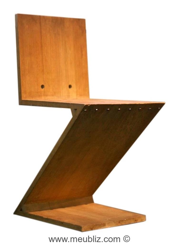 Chaise zig zag inspiration de stijl par gerrit for Meuble zig zag conforama