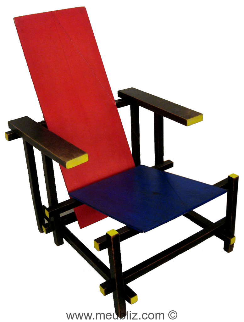 fauteuil rouge bleu par gerrit thomas rietveld meuble design. Black Bedroom Furniture Sets. Home Design Ideas