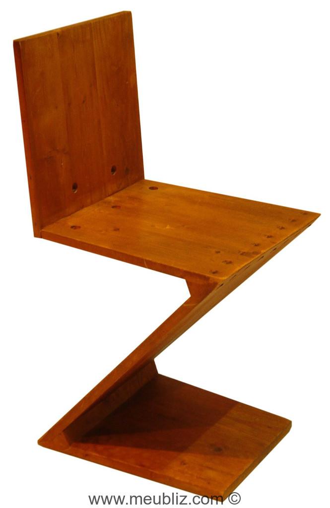 Chaise zig zag inspiration de stijl par gerrit for Meuble zig zag
