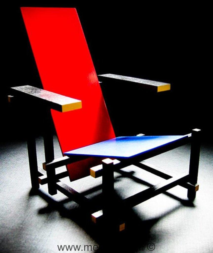 fauteuil rouge bleu par gerrit thomas rietveld meuble design. Black Bedroom Furniture Sets. Home Design Ideas