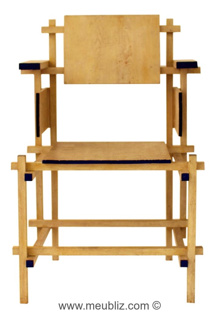chaise structure apparente de stijl par gerrit thomas rietveld meuble design. Black Bedroom Furniture Sets. Home Design Ideas