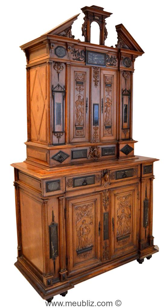 buffet deux corps renaissance fran aise fronton pans bris s meuble de style. Black Bedroom Furniture Sets. Home Design Ideas