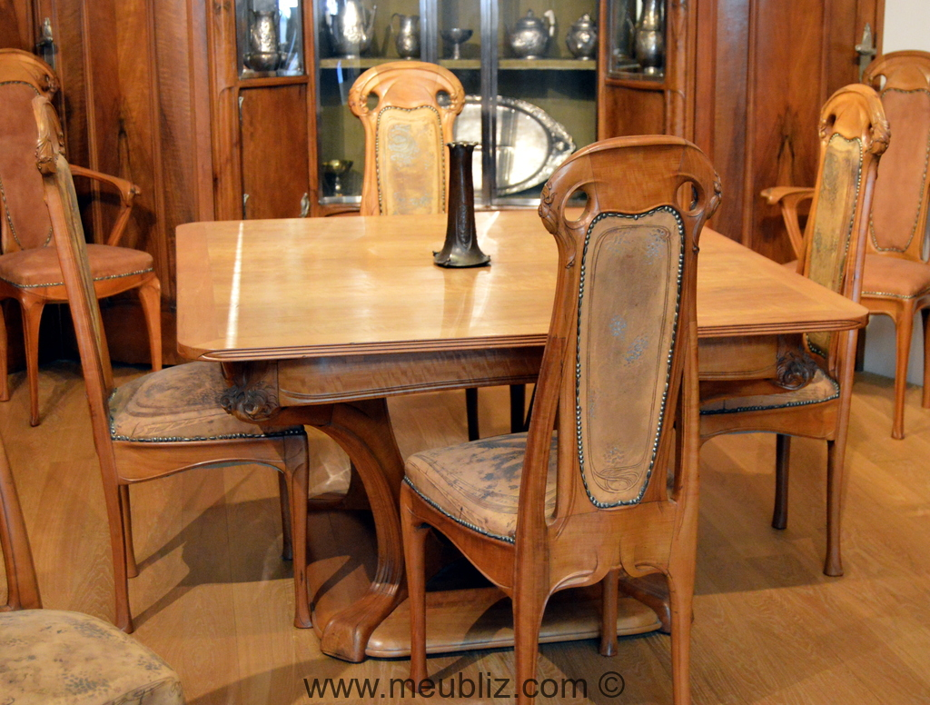grande table de salle manger art nouveau meuble de style. Black Bedroom Furniture Sets. Home Design Ideas