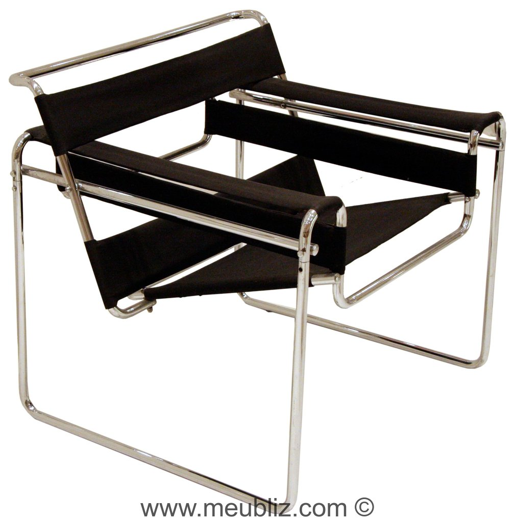 fauteuil b3 wassily structure tubulaire innovante par marcel breuer meuble design. Black Bedroom Furniture Sets. Home Design Ideas