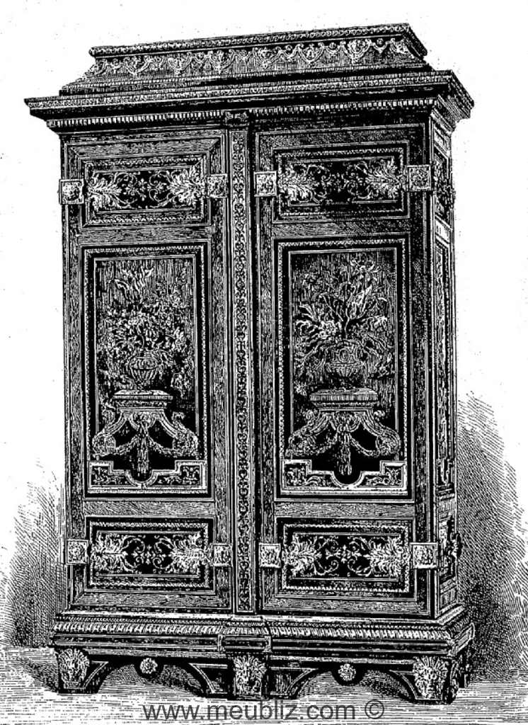 armoire double louis xiv de style boulle couronnement plat meuble de style. Black Bedroom Furniture Sets. Home Design Ideas