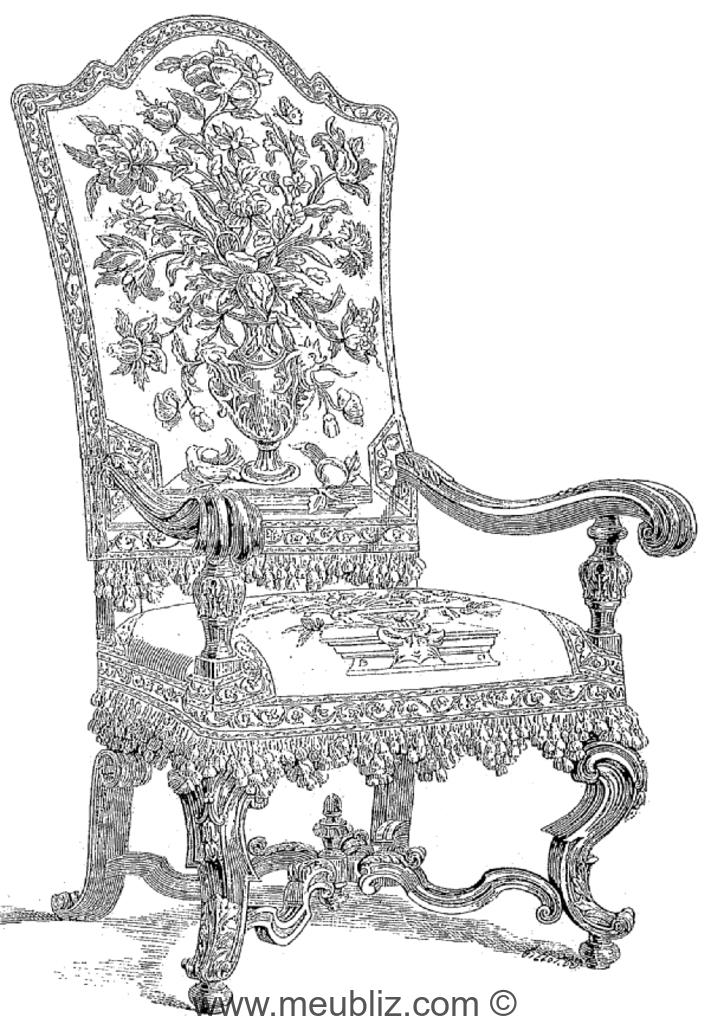 fauteuil louis xiv grand dossier pieds galb s et entrejambe en croisillon meuble de style. Black Bedroom Furniture Sets. Home Design Ideas