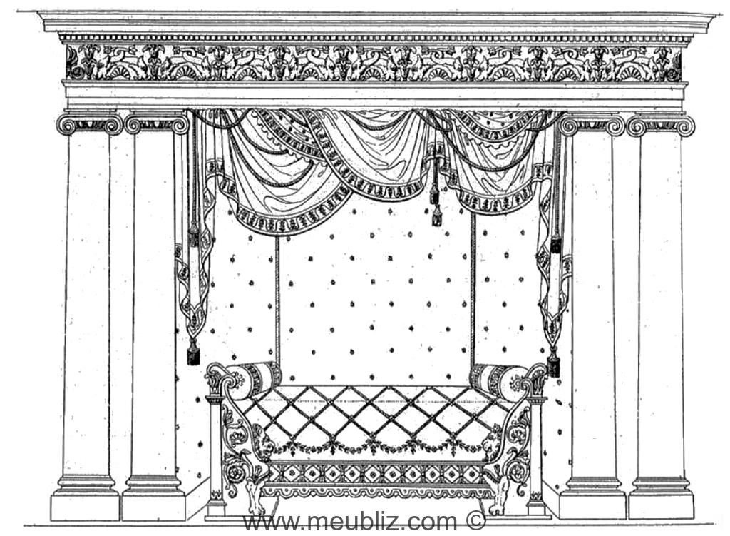lit alcve et pilastres datant de la restauration - Lits Alcove