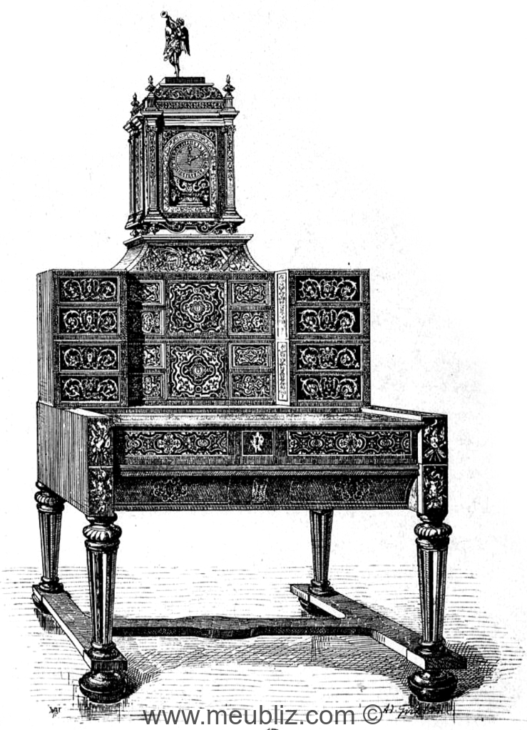 Bureau louis xiii cabinet en gradin meuble de style for Bureau style louis 13