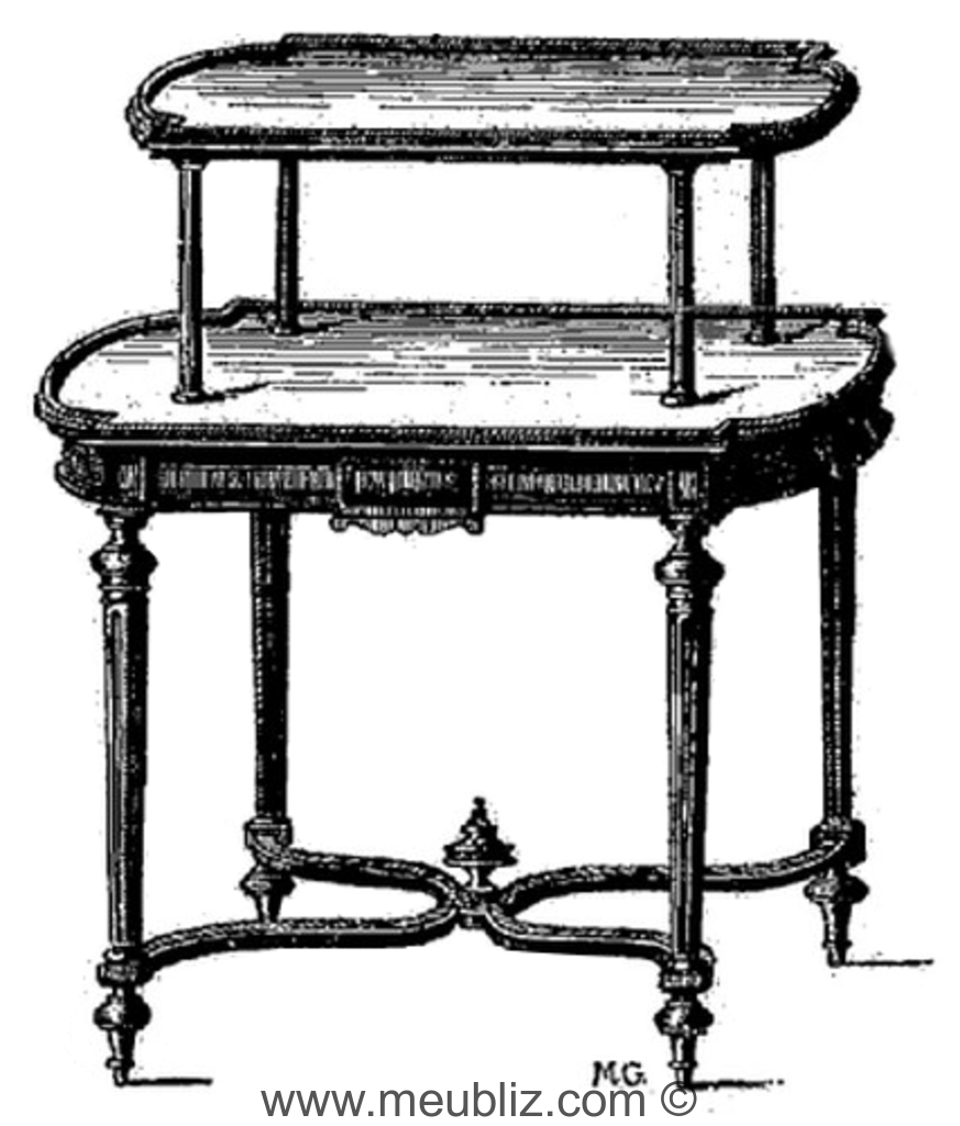 table cabaret oblongue double plateau napol on iii n oclassique meuble de style. Black Bedroom Furniture Sets. Home Design Ideas