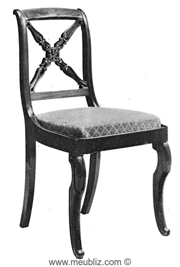 chaise restauration louis philipe dossier ajour en croisillon et pieds en jarret meuble de. Black Bedroom Furniture Sets. Home Design Ideas