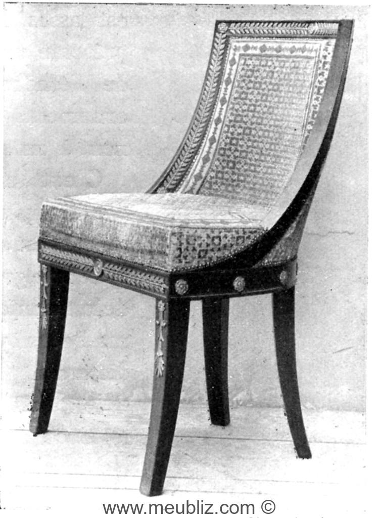 Chaise gondole empire garnie meuble de style for Meuble chaise