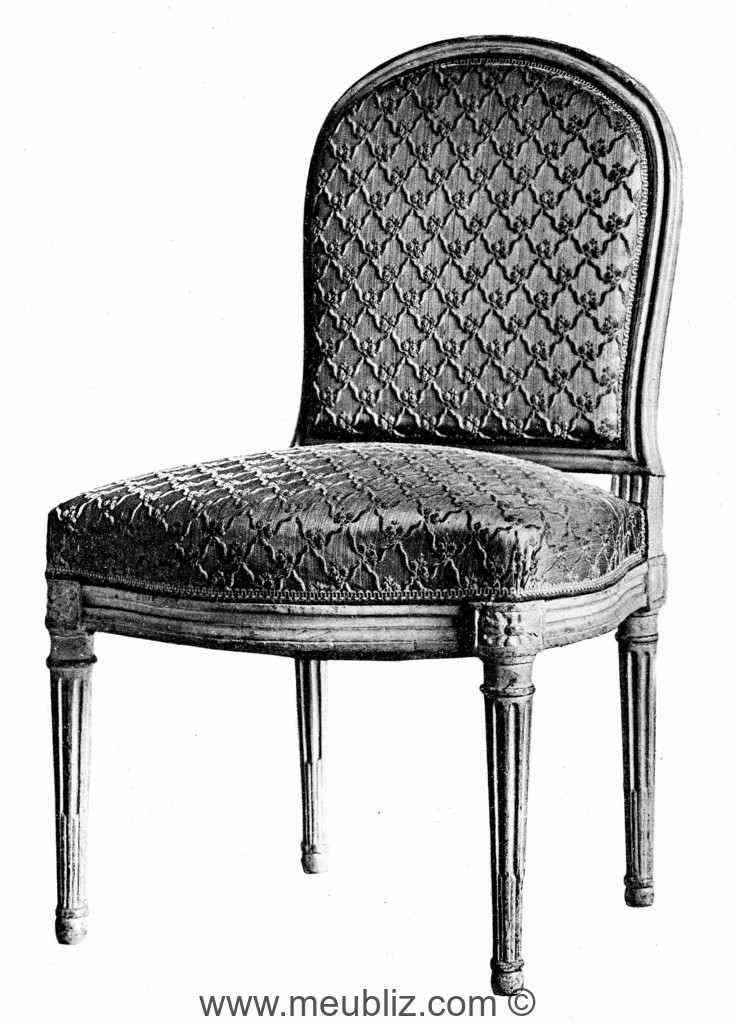chaise la reine louis xvi dossier rembourr en. Black Bedroom Furniture Sets. Home Design Ideas