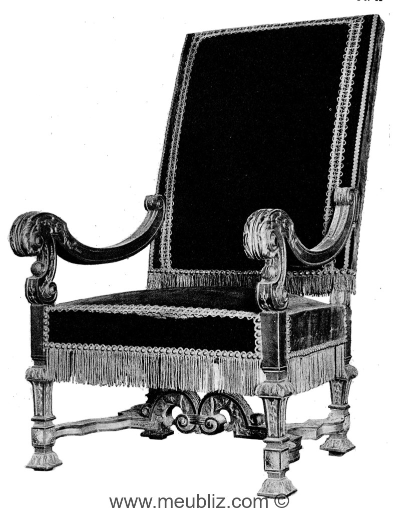 fauteuil louis xiv accoudoirs incurv s et pieds en gaine. Black Bedroom Furniture Sets. Home Design Ideas