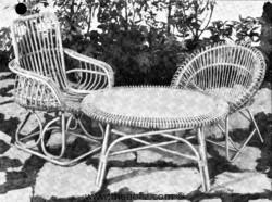 Ensemble de jardin en rotin des années 50