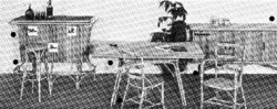 Salon d'intérieur en rotin des années 50